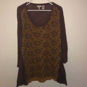 LOGO by Lori Goldstien Floral Overlay Tunic